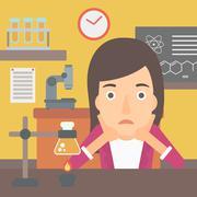 Woman in despair clutching her head - stock illustration
