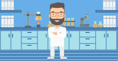 Male laboratory assistant - stock illustration