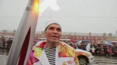 Bari Alibasov give interview on Relay race of Olympic flame in Saint Petersburg Stock Footage