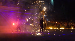 Fire dancers make fire show performance in slow motion Stock Footage