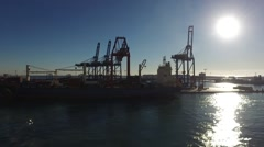 PORT OF VALENCIA WITH CONTAINER SHIPS - stock footage