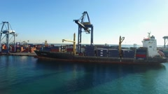 PORT OF VALENCIA WITH CONTAINER SHIPS  Stock Footage