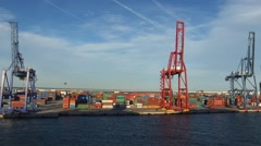 PORT OF VALENCIA WITH CONTAINERS Stock Footage