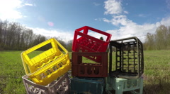 Plastic box heap, time lapse 4K Stock Footage