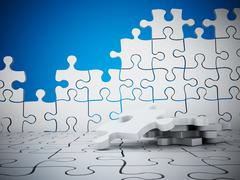 Puzzle wall with missing pieces Stock Illustration