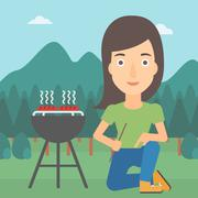Woman preparing barbecue Stock Illustration