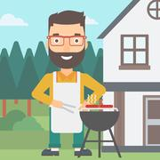Man preparing barbecue Stock Illustration