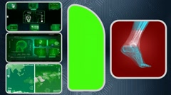 Foot - Computer Scanning - Human detector - World - green 02 Stock Footage