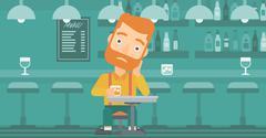 Man sitting at bar Stock Illustration