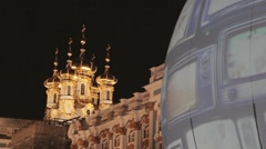 View of golden domes on Catherine Palace in Saint Petersburg countryside. Dark Stock Footage