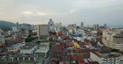 Evening forward aerial sweep of Penang Georgetown Arkistovideo