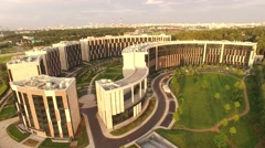 Unique aerial view of Skolkovo apartment building. Modern Moscow Russia Stock Footage