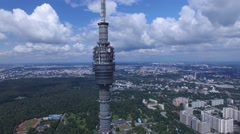 Ostankino tv tower in Moscow unique aerial high altitude flight close approach Stock Footage