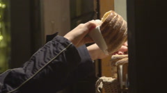 Traveler buying Czech national pastry dish trdelnik, enjoying trip and life Stock Footage