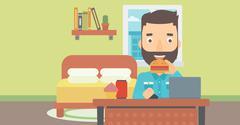 Man eating hamburger - stock illustration