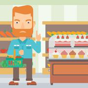 Man holding supermarket basket - stock illustration