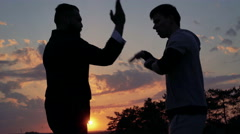 Wing Chun on perfect sunset near the river. 4k Stock Footage