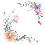 Summer Corners with Meadow Flowers and Herbs Stock Illustration