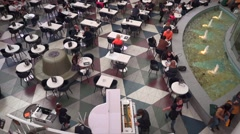 Moscow city mall cafe with fountain and live music.  Stock Footage