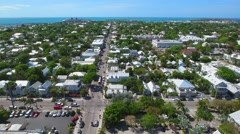 Aerial video tour Duval Street Key West Stock Footage