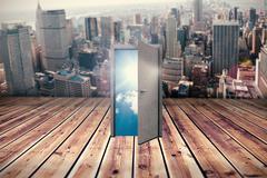 Composite image of open door - stock illustration