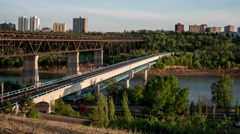 Motion timelapse of High Level bridge in Edmonton Alberta Stock Footage