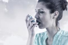 Composite image of portrait of an asthmatic woman Stock Photos