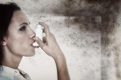 Composite image of asthmatic brunette using her inhaler Stock Photos