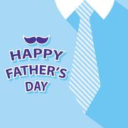 happy fathers day card on tie and blue shirt background - stock illustration