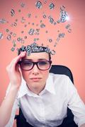 Composite image of thinking businesswoman - stock photo