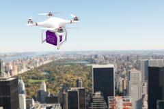Composite image of a drone bringing a purple cube - stock illustration