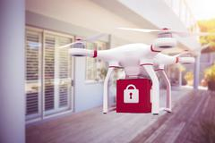 Composite image of a drone bringing a red cube - stock illustration
