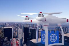 Composite image of a drone bringing a blue cube - stock illustration