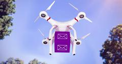 Composite image of a drone bringing a purple cube Stock Illustration