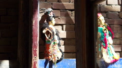 Taiwan Glove puppetry dolls on the brick wall with light - stock footage