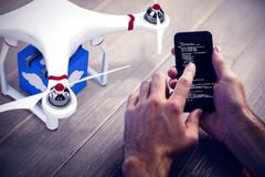 Composite image of a drone bringing a blue cube Stock Illustration