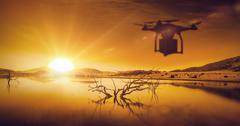 Composite image of a drone bringing a red cube Stock Illustration