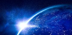 Aerial view of the Earth - stock illustration