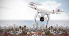 Composite image of a drone bringing a camera - stock illustration