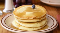 Pancakes and blueberries Stock Footage