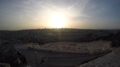 Sunset over Jerusalem from the Mountain of Olives; timelapse - stock footage