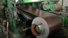 Drum of rolling machine with colored metal sheet Stock Footage