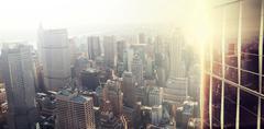 Image of a city landscape on a sunny day - stock photo