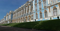 The Catherine Palace. Facade. Tsarskoye Selo. Tsar's Village Stock Footage