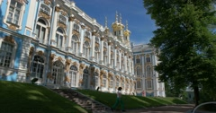 The Catherine Palace. The view from the Park. Tsarskoye Selo. Tsar's Village Stock Footage