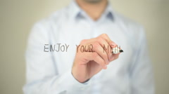Enjoy Your Meal , man writing on transparent screen Stock Footage
