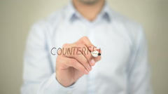 Counterfeit , man writing on transparent screen Stock Footage