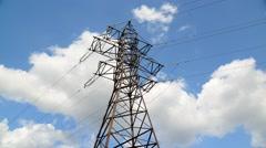 High-voltage power line on sky background, taymlapse Stock Footage