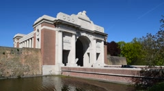 The Menin Gate Memorial to the Missing, Ypres, Belgium Stock Footage