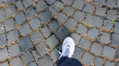 Walking on the cobblestones of Rome Stock Footage